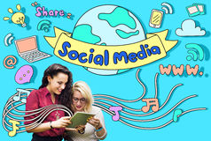Conceito social do Internet de uma comunicação da conexão dos meios fotos de stock