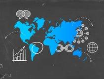 Conceito social do molde do mapa do mundo do negócio dos meios ilustração stock