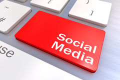 Conceito social do teclado dos meios Fotografia de Stock