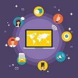 Conceito social do vetor da rede Grupo de ícones sociais dos meios Imagens de Stock Royalty Free