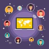 Conceito social do vetor da rede Ilustração lisa do projeto para a Web Imagens de Stock Royalty Free