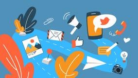 Conceito social dos media ilustração stock
