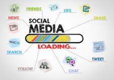 Conceito social dos media Carta com palavras-chaves e ícones no fundo cinzento Foto de Stock Royalty Free