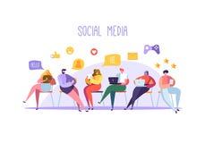 Conceito social dos meios com os caráteres que conversam em dispositivos Grupo de povos lisos que usam dispositivos móveis Trabal ilustração do vetor