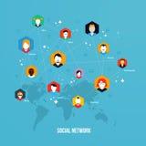 Conceito social dos meios, ilustração da rede, vetor, ícone Foto de Stock Royalty Free