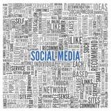 Conceito social dos meios na nuvem da etiqueta da palavra ilustração do vetor