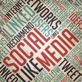 Conceito social dos meios - vintage Wordcloud. Imagens de Stock