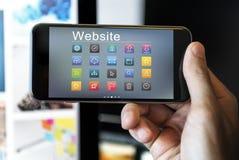 Conceito social dos símbolos do Web site dos meios fotografia de stock royalty free
