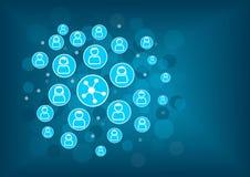 Conceito social dos trabalhos em rede como a ilustração Fundo borrado com ícones das pessoas conectadas Fotos de Stock