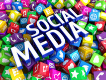 Conceito social dos trabalhos em rede dos meios Fotos de Stock Royalty Free