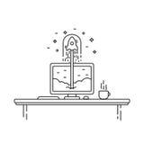 Conceito startup bem sucedido do negócio Ilustração do vetor com lançamento do foguete e monitor no fundo Fotos de Stock Royalty Free