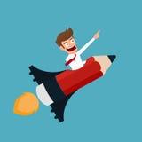 Conceito startup criativo moderno do negócio do projeto liso Voo do homem de negócios em um foguete do lápis Fotografia de Stock Royalty Free