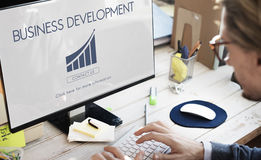 Conceito Startup das estatísticas do crescimento do desenvolvimento de negócios Foto de Stock Royalty Free