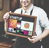 Conceito Startup de Rocketship dos objetivos de negócios do lançamento Imagem de Stock
