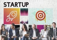 Conceito Startup de Rocketship dos objetivos de negócios do lançamento Foto de Stock Royalty Free