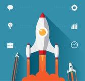 Conceito startup moderno do projeto liso Fotos de Stock Royalty Free