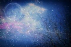 Conceito surreal da fantasia - a Lua cheia com estrelas brilha no fundo dos céus noturnos fotos de stock royalty free