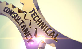 Conceito técnico da consulta Engrenagens douradas 3d Fotos de Stock