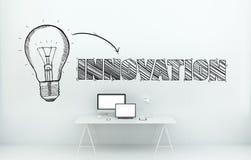 Conceito tirado mão da inovação na rendição do escritório 3D Foto de Stock Royalty Free