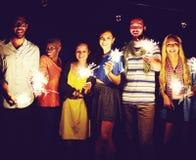 Conceito étnico diverso da felicidade do lazer do partido da amizade Imagens de Stock Royalty Free
