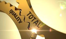 Conceito total da qualidade Engrenagens douradas 3d Foto de Stock