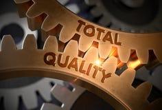 Conceito total da qualidade Engrenagens douradas da roda denteada ilustra??o 3D ilustração do vetor