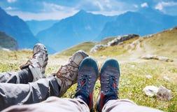 Conceito trekking do feriado do lazer do curso Mangart, Julian Alps, parque nacional, Eslovênia, Europa Fotografia de Stock Royalty Free