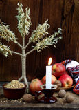 Conceito ucraniano do Natal para o cartão Composição do didukh do símbolo do xmas, vela ardente, maçãs, nozes, trigo em de madeir Fotos de Stock Royalty Free