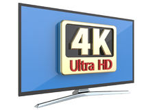 Conceito ultra alto da tecnologia da tela da televisão digital da definição: tevê de 4K UltraHD ou exposição do monitor do PC do  Imagem de Stock
