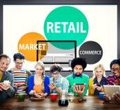 Conceito varejo da compra do mercado do comércio do consumidor imagens de stock