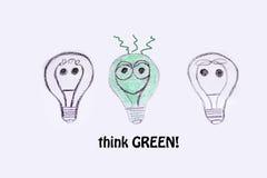 Conceito verde da energia do eco, três ampolas Imagem de Stock Royalty Free