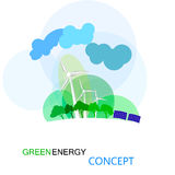 Conceito verde da energia, futuro ecologycal da terra Turbinas de vento, campo amarelo Imagem de Stock