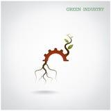 Conceito verde da indústria Símbolo pequeno da planta e da engrenagem, negócio Fotografia de Stock Royalty Free