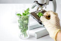 Conceito - verifique suplementos dietéticos no laboratório no microscópio imagem de stock