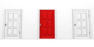 Conceito vermelho e branco bem escolhido direito do sucesso da porta Foto de Stock Royalty Free