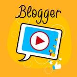 Conceito video de Bloggind do ícone da relação do jogador da tabuleta do blogue ilustração do vetor