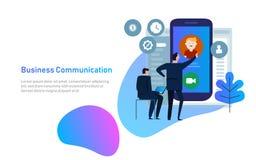 Conceito video do bate-papo O homem comunica-se usando o bate-papo video no telefone esperto Bate-papo em linha da Web Projeto li ilustração do vetor