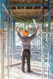 Conceitos, coordenador e arquiteto da construção trabalhando no canteiro de obras Fotografia de Stock Royalty Free