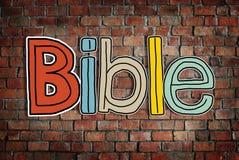 Conceitos da Bíblia na parede de tijolo imagem de stock