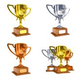 Conceitos da competição - copos coloridos do troféu de 3D Imagens de Stock Royalty Free