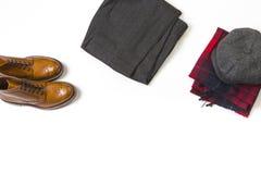 Conceitos da forma Os pares de Tan Brogue Boots luxuosa, formam S velho fotografia de stock