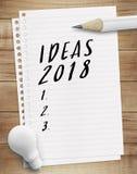 Conceitos 2018 da lista de verificação da ideia fotos de stock