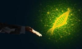 Conceitos da medicina e da tecnologia da ciência como a molécula do ADN no fundo escuro com linhas da conexão Imagem de Stock Royalty Free