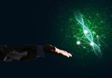 Conceitos da medicina e da tecnologia da ciência como a molécula do ADN no fundo escuro com linhas da conexão Fotografia de Stock Royalty Free