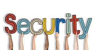 Conceitos da palavra da segurança isolados no fundo imagens de stock royalty free
