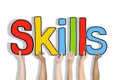 Conceitos da palavra das habilidades isolados no fundo Imagens de Stock Royalty Free