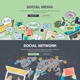 Conceitos de projeto lisos para meios sociais e a rede social ilustração stock