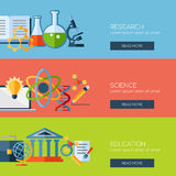 Conceitos de projeto lisos para a pesquisa, ciência Fotografia de Stock Royalty Free
