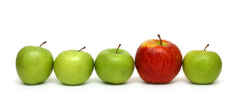 Conceitos diferentes com maçãs imagens de stock