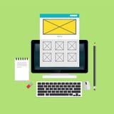 Conceitos do design web e do desenvolvimento Elementos para o móbil e as aplicações web Fotografia de Stock Royalty Free